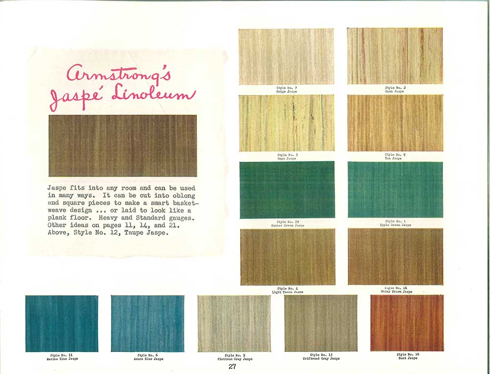 Linoleum Flooring Colors Streaky 1940s