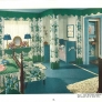 vintage 1940s blue and green bedroom
