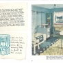 vintage blue and white linoleum inlaid floor in bathroom 1940