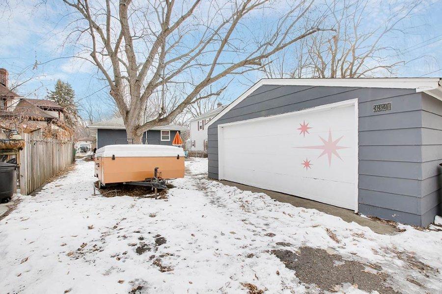 midcentury starburst garage door