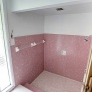 midcentury-pink-tile-walk-in-shower