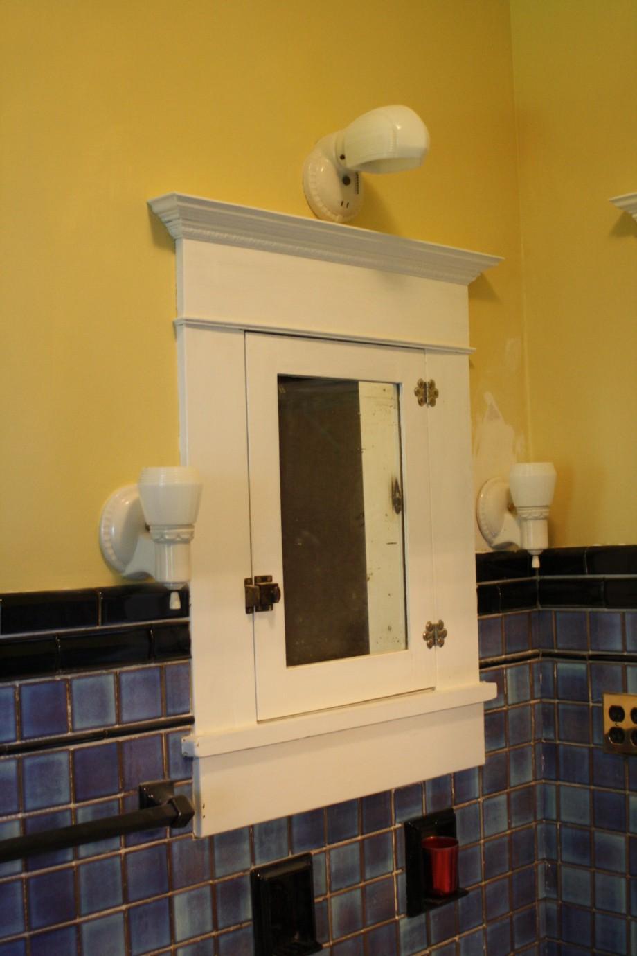 Arts and crafts bathroom tile - American Universal Blue Black Tile Bathroom Mirror