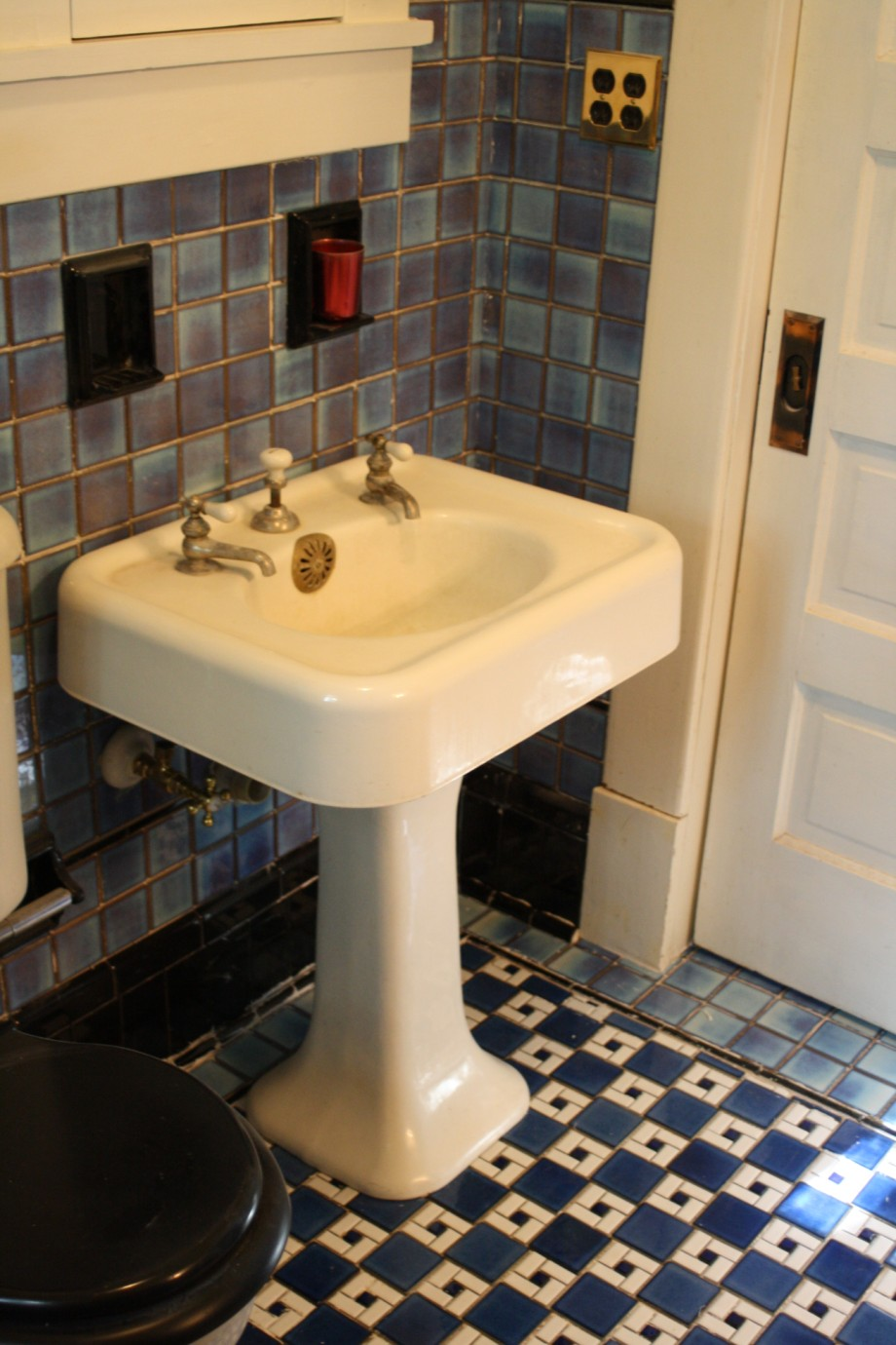 American Universal Blue Black Tile Bathroom Sink