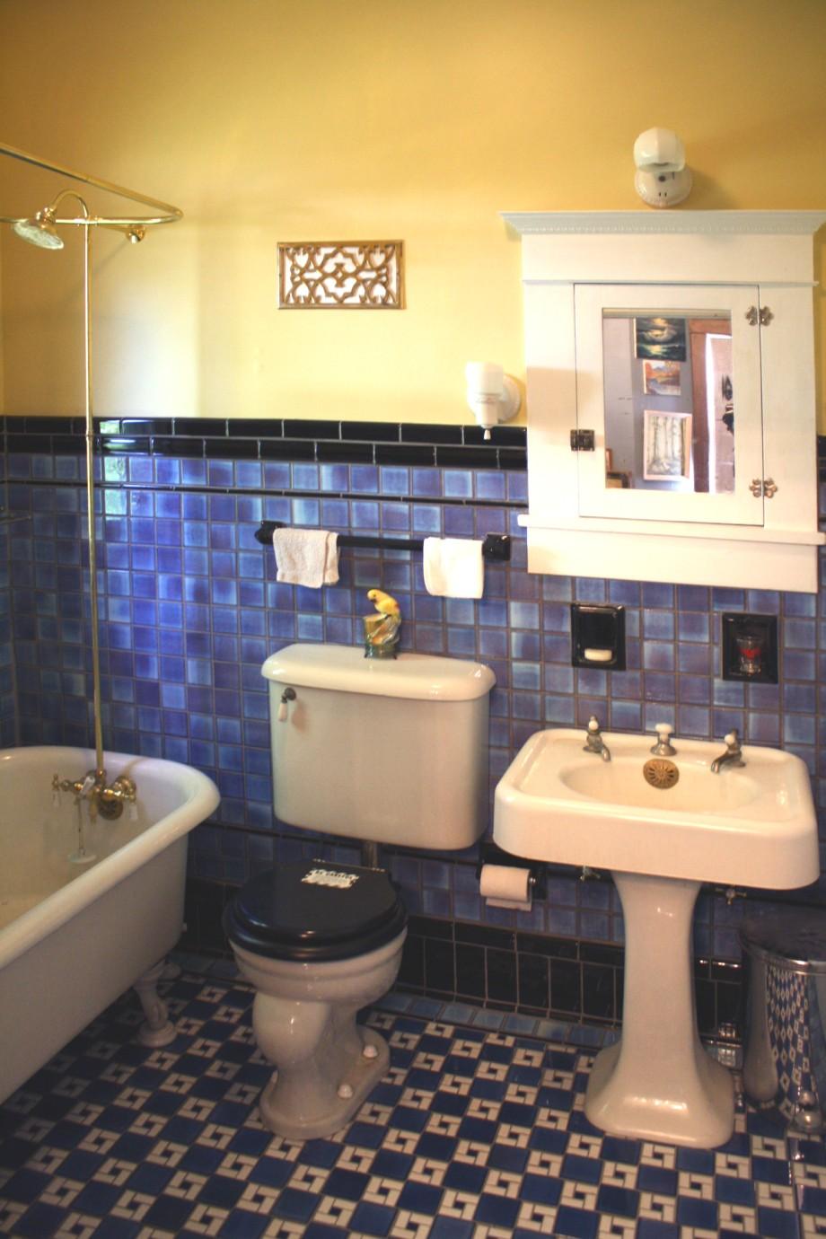 Arts and crafts bathroom tile - New American Universal 20s Blue Black Tile Bathroom
