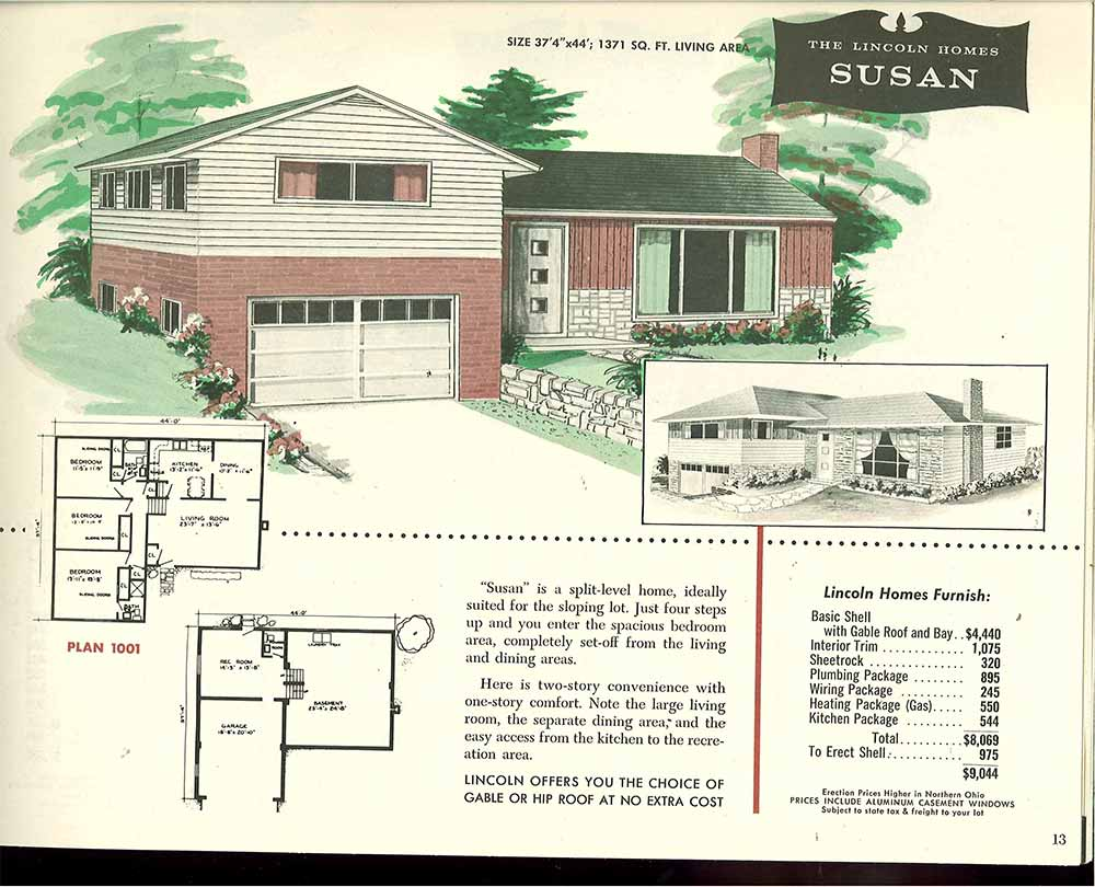 Factory built houses 28 pages of lincoln homes from 1955 for 1960 s home plans