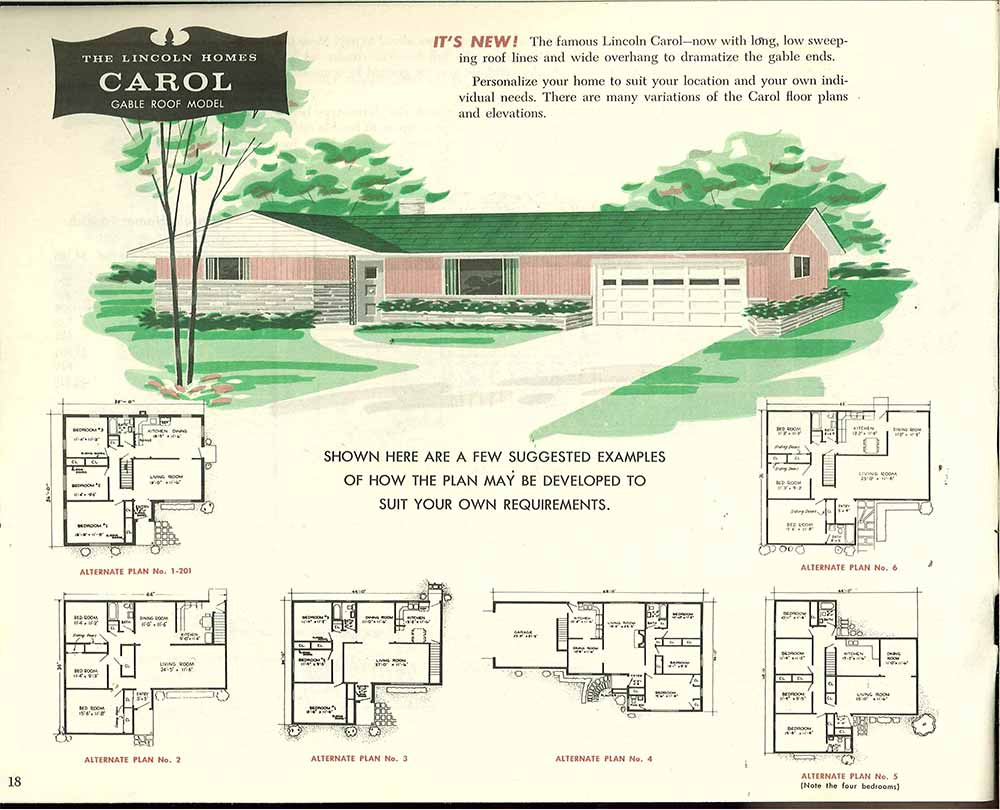 lincolnhomesn d c 1955 16 factory built houses 28 pages of lincoln homes from 1955 retro,Long Ranch Home Plans