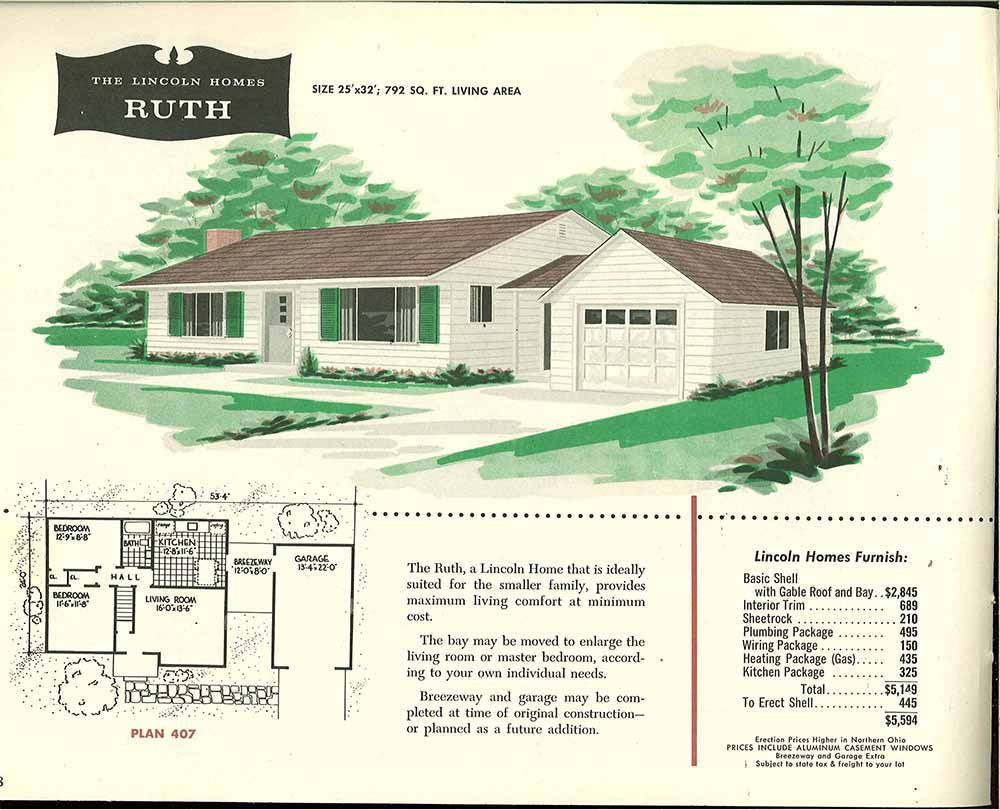 Factory Built Houses 28 Pages Of Lincoln Homes From 1955
