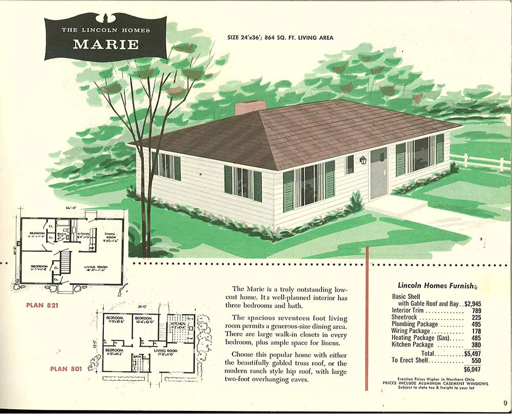 Factory built houses 28 pages of lincoln homes from 1955 for Hip roof design plans