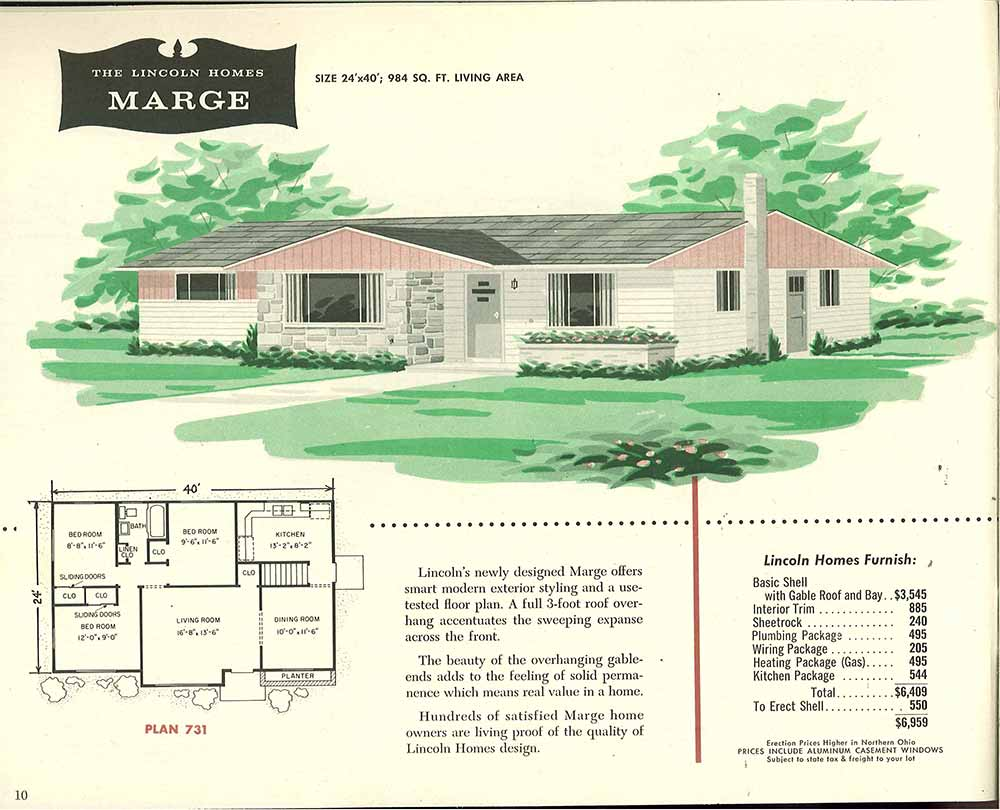 Factory built houses 28 pages of lincoln homes from 1955 1960s ranch style house plans