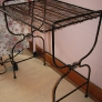vintage black wire stand for bathroom storage