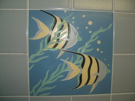 Vintage American Olean Tile Set Fishes Jpg