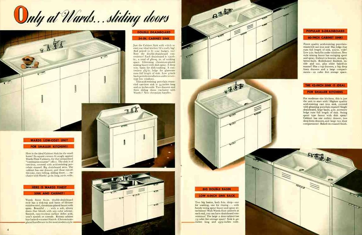 Vintage 1941 montgomery ward metal kitchen cabinets for Metal kitchen cabinets