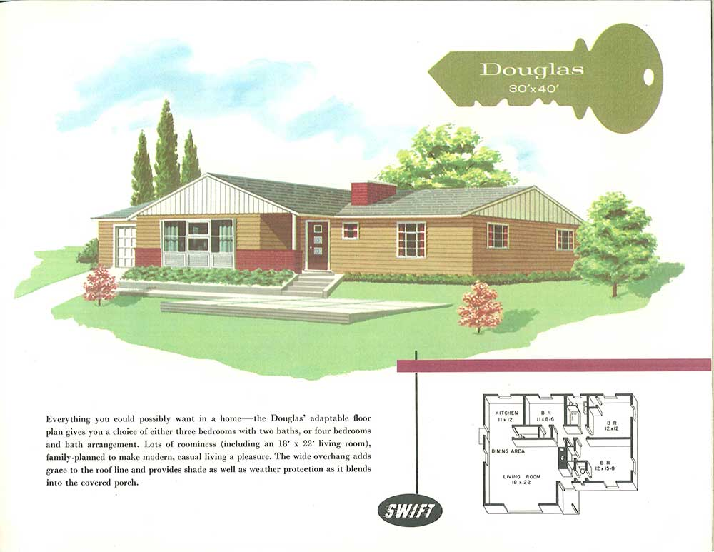 Terrific curb appeal ideas from Swift Homes 1957 house plans catalog