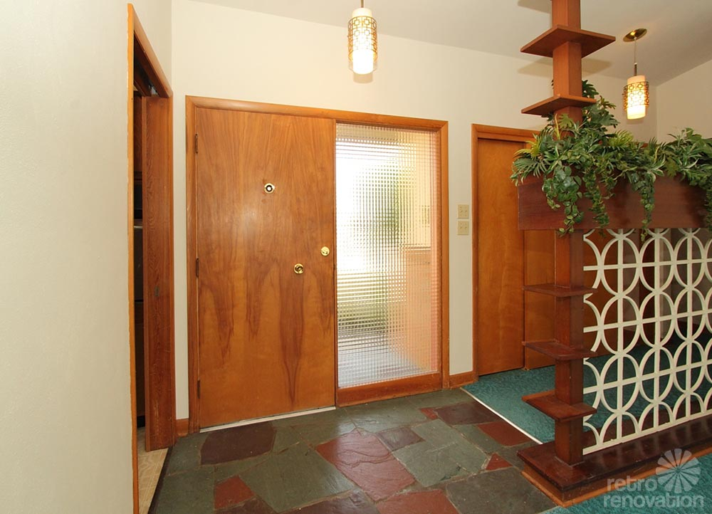Mid Century Modern Foyer : Warm and beautiful mid century modern brick ranch