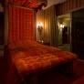 retro-orange-tufted-bed-60s