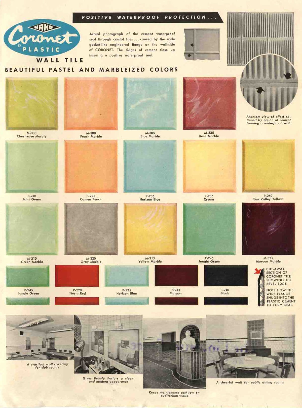 Plastic bathroom tile: 20 pages of images from 3 catalogs - Retro ...