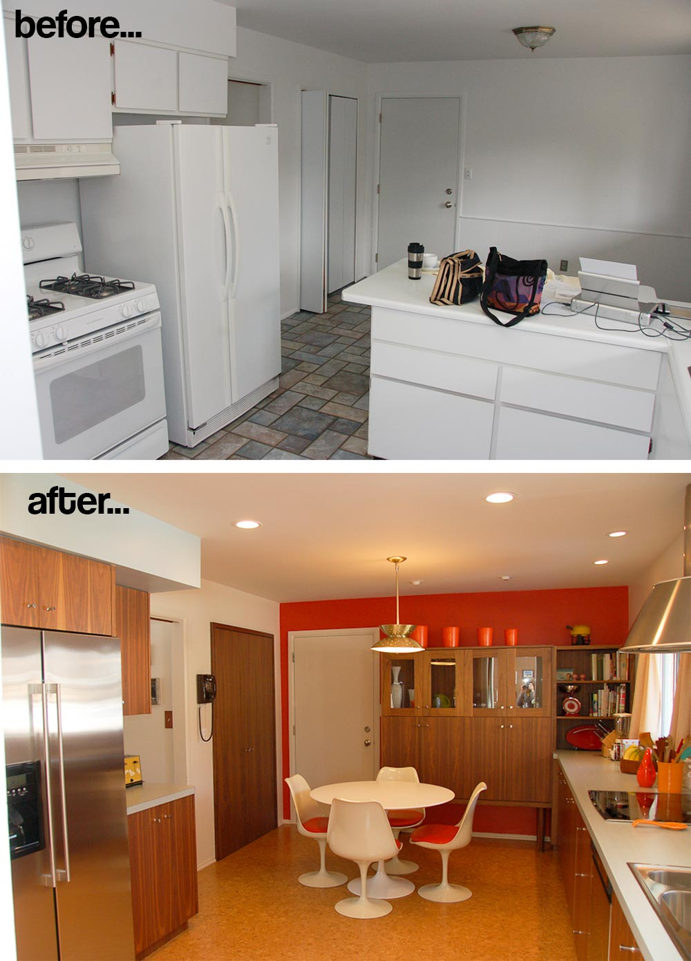 Modern Kitchen Remodel Before And After rebecca and keith's mad men kitchen remodel - and mad men ad