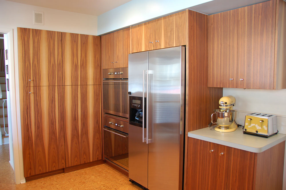 Mid Century Modern Kitchen With Walnut Cabinets