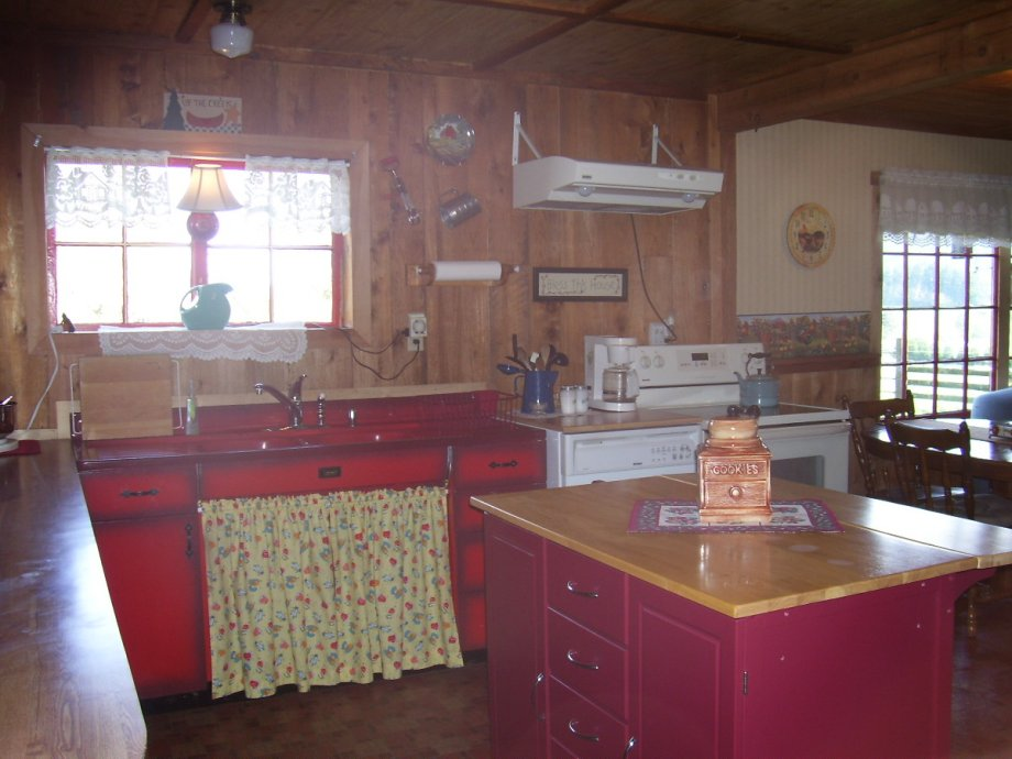 Country Kitchen Cabinets · Red Metal Sink Cabinet