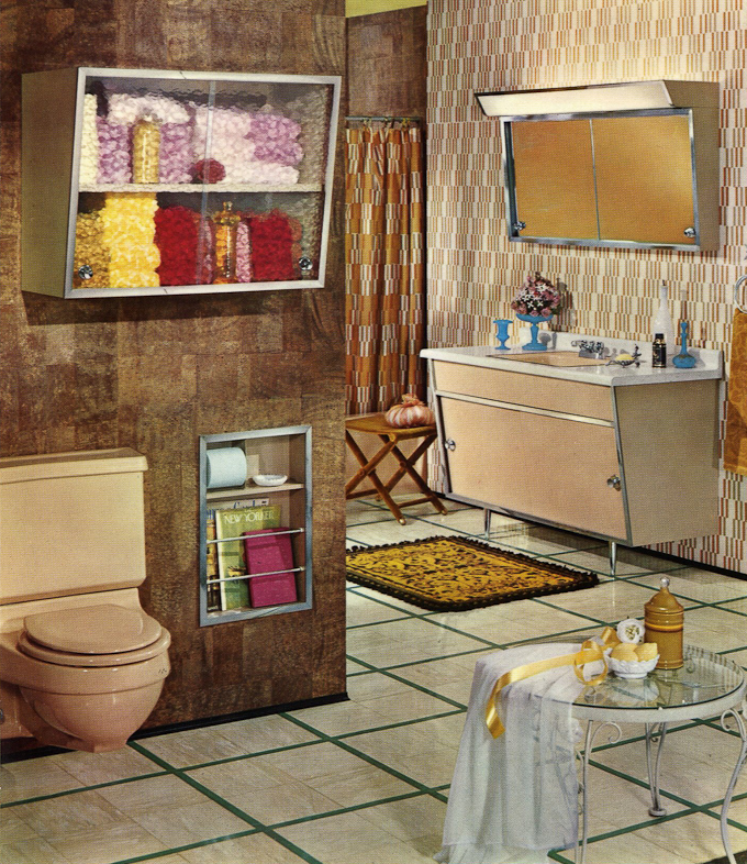 Satin glide steel bathroom vanities 1963 retro renovation for 1960s bathroom design