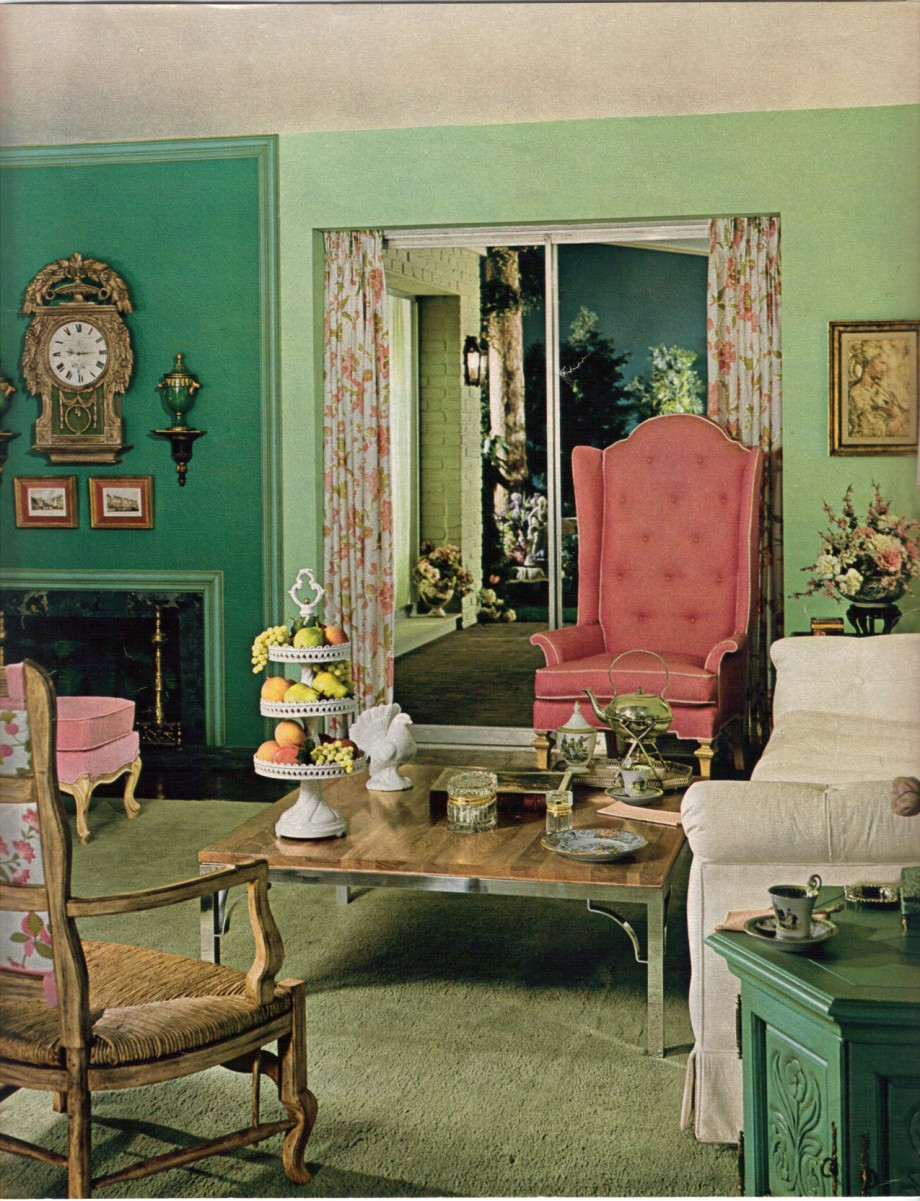 Green Living Room Designs: 10 Color Schemes From 1968