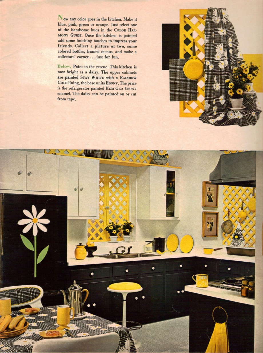 1960s decorating style 16 pages of painting ideas from for Blue and yellow kitchen decorating ideas