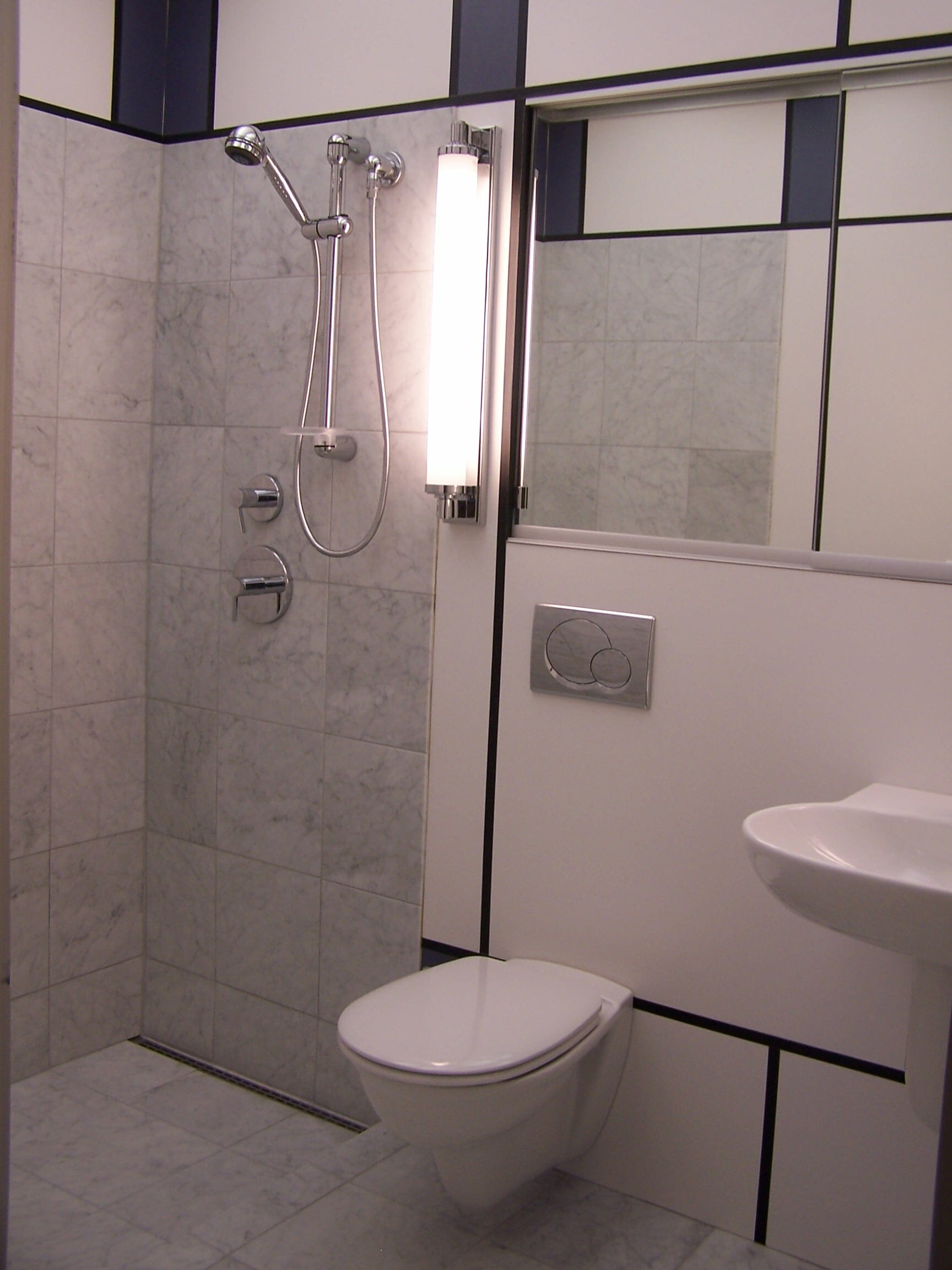 Steven Michael Create The Mondrian Bathroom Originally Intended For Their Alcoa Aluminum House