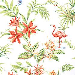 retro thibaut wallpaper with flamingos