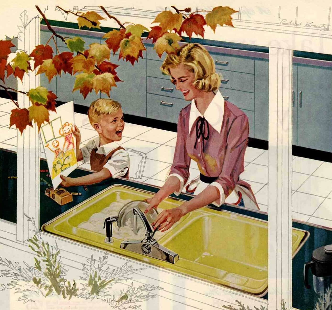 Retro Kitchen Illustration: Retro Kitchen Paint Colors From 50s To Early 60s Geneva