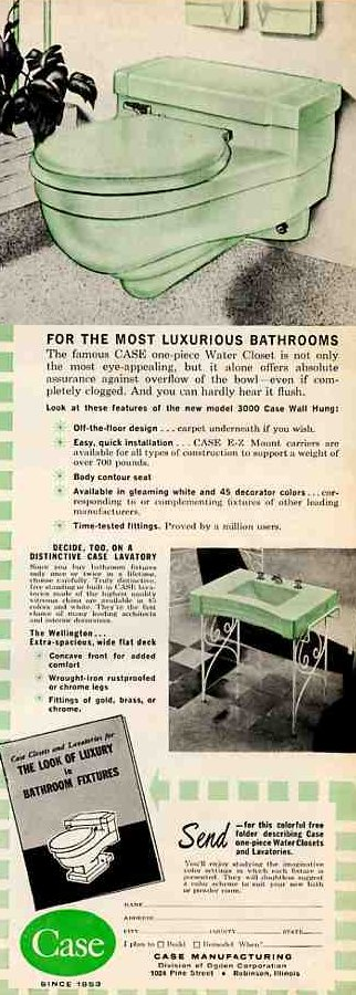case toilets in 1961 ad