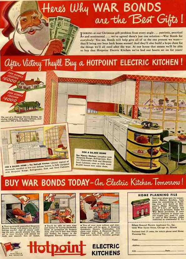 ad to buy world war II war bonds featuring santa