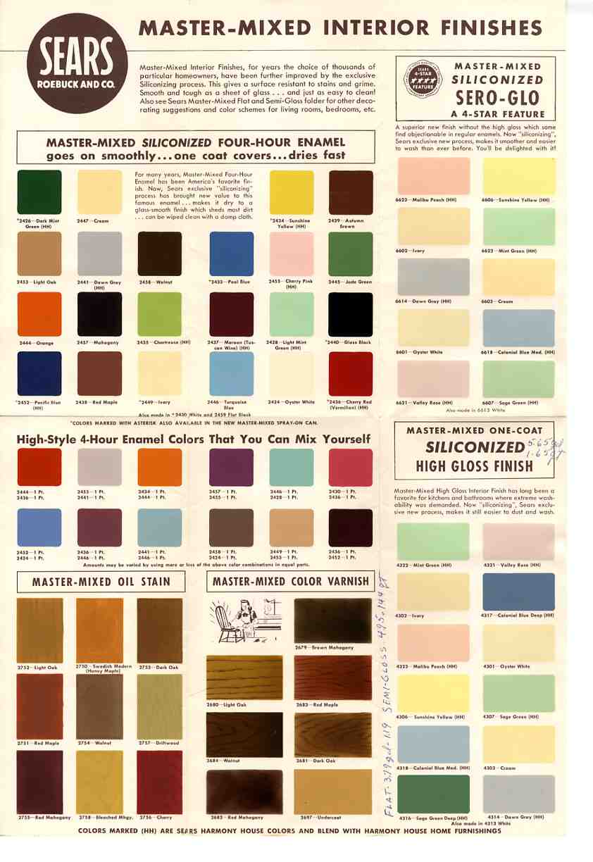 1950s and 60s paint colors   from Sears classic Harmony House