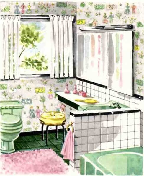 Awesome Charming Green 50S Bathroom Retro Renovation Interior Design Ideas Gentotryabchikinfo
