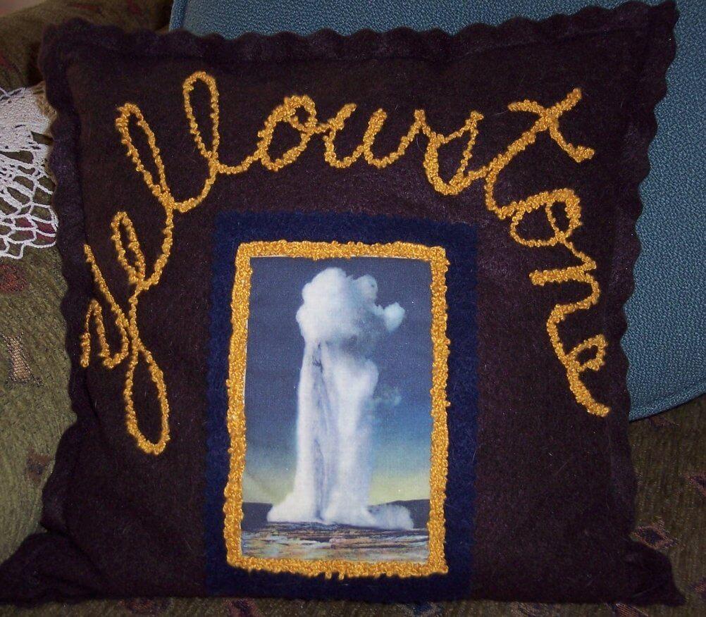 vintage yellowstone park pillow