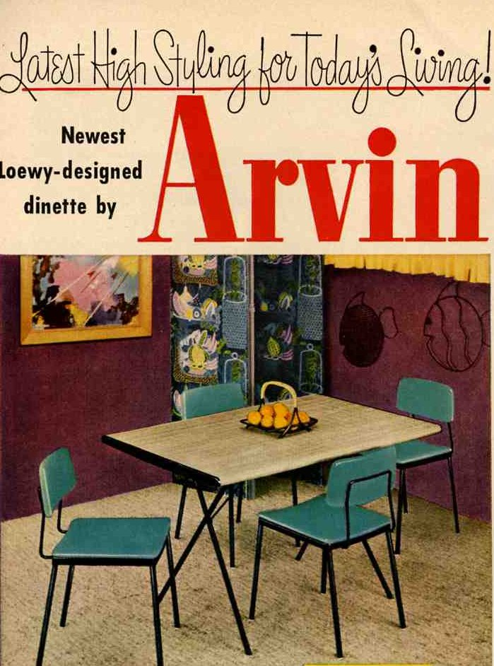 1953 Raymond Loewy Arvin dinette set