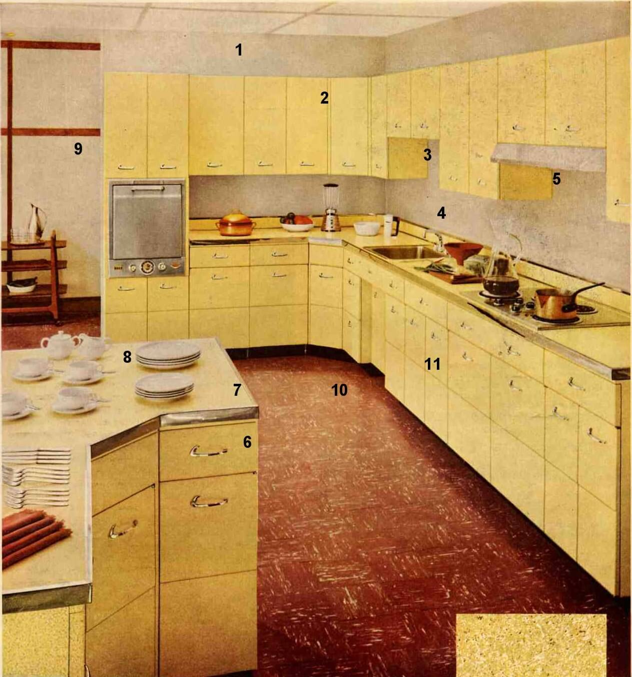 A 1955 capitol kitchen with asian flair today 39 s for Metal kitchen cabinets