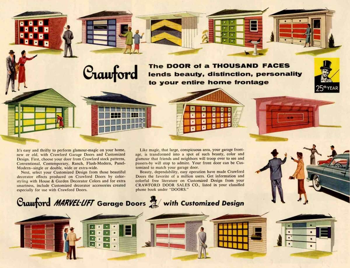 Paint Your Garage Door 50s Retro Renovation Style on mid century color palette