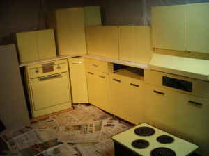 amazing green yellow kitchen | Metal kitchen cabinets: An amazing set of yellow GE ...