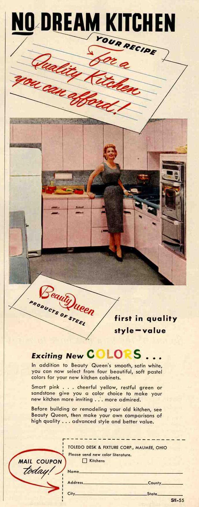 Vintage bathroom ads - 1955 Beauty Queen Pink Bathroom Lavanette 1955 Beauty Queen Pink Kitchen