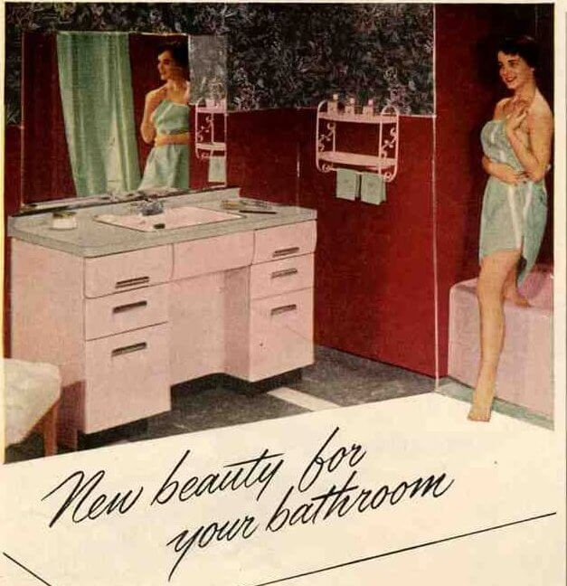 50s Kitchen And Bathroom In The Pink With Beauty Queen
