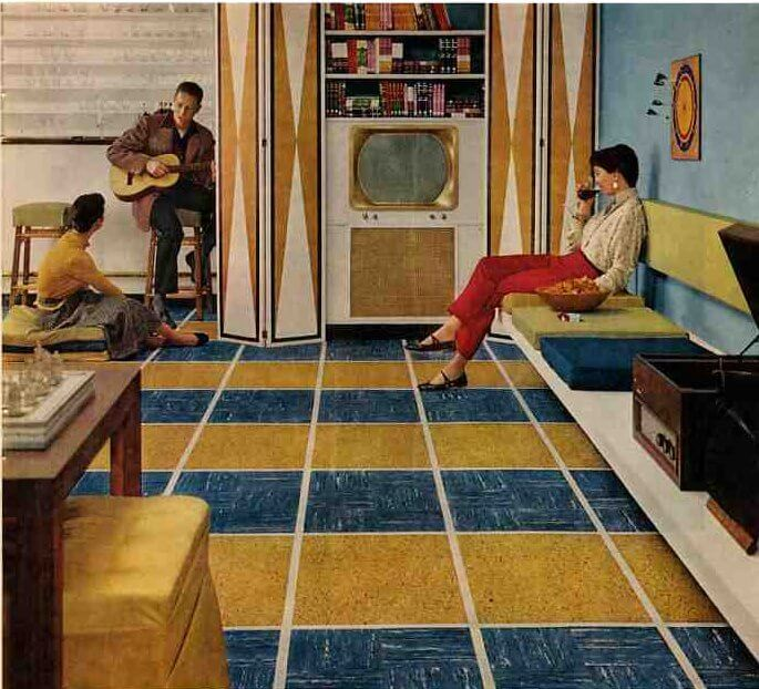 50s basement including 1956 vintage ken tile floors for Retro basement ideas