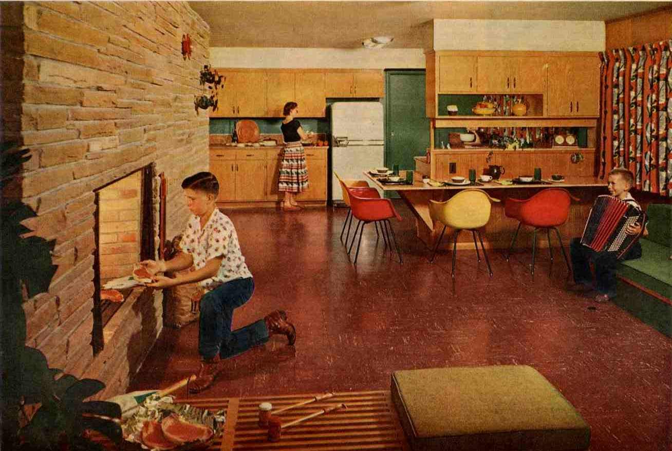 retro 50s kitchen with birch cabinets