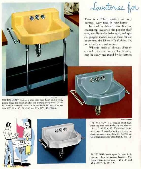 kohler wall sinks from 1959