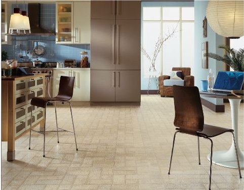 Retro colonial brick vinyl sheet flooring