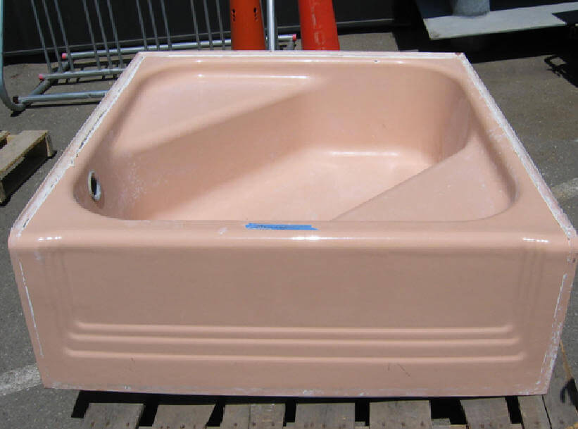 vintage pink tub from omega salvage
