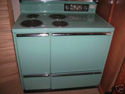 1959 GE stove aqua turquoise