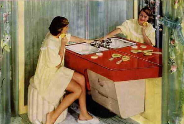 Vintage 1952 Formica bathroom lavatory