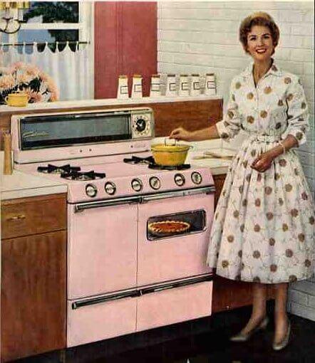 pink kitchen stove