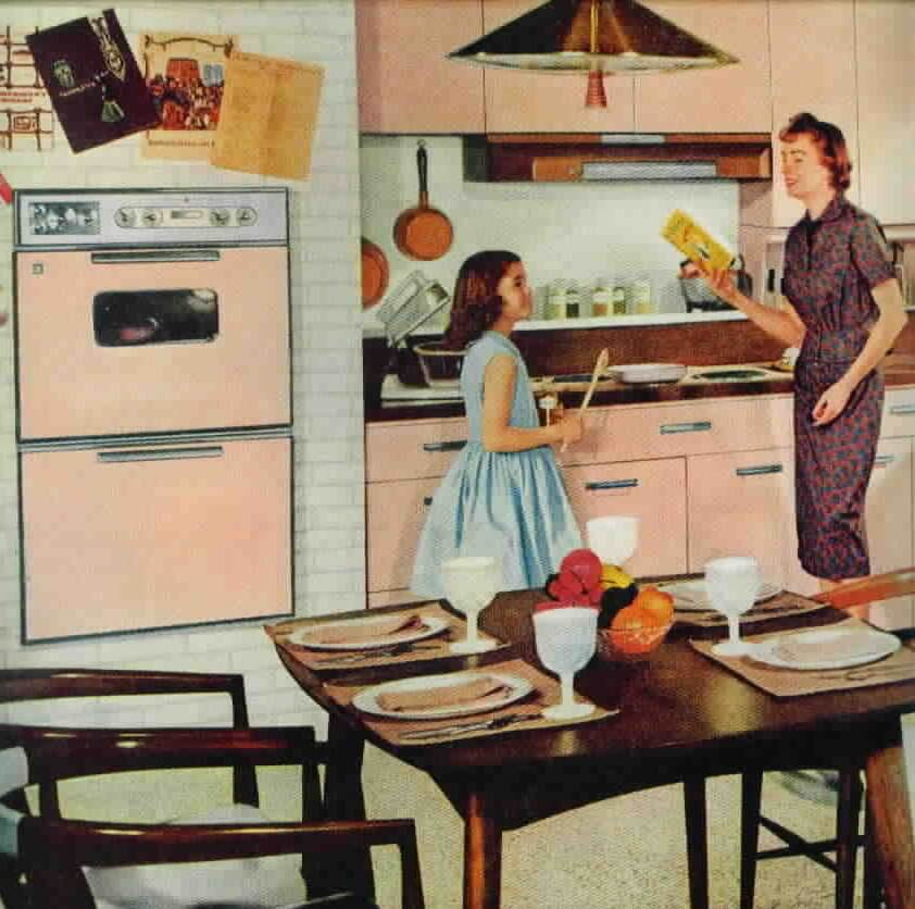 vintage pink kitchen from GE