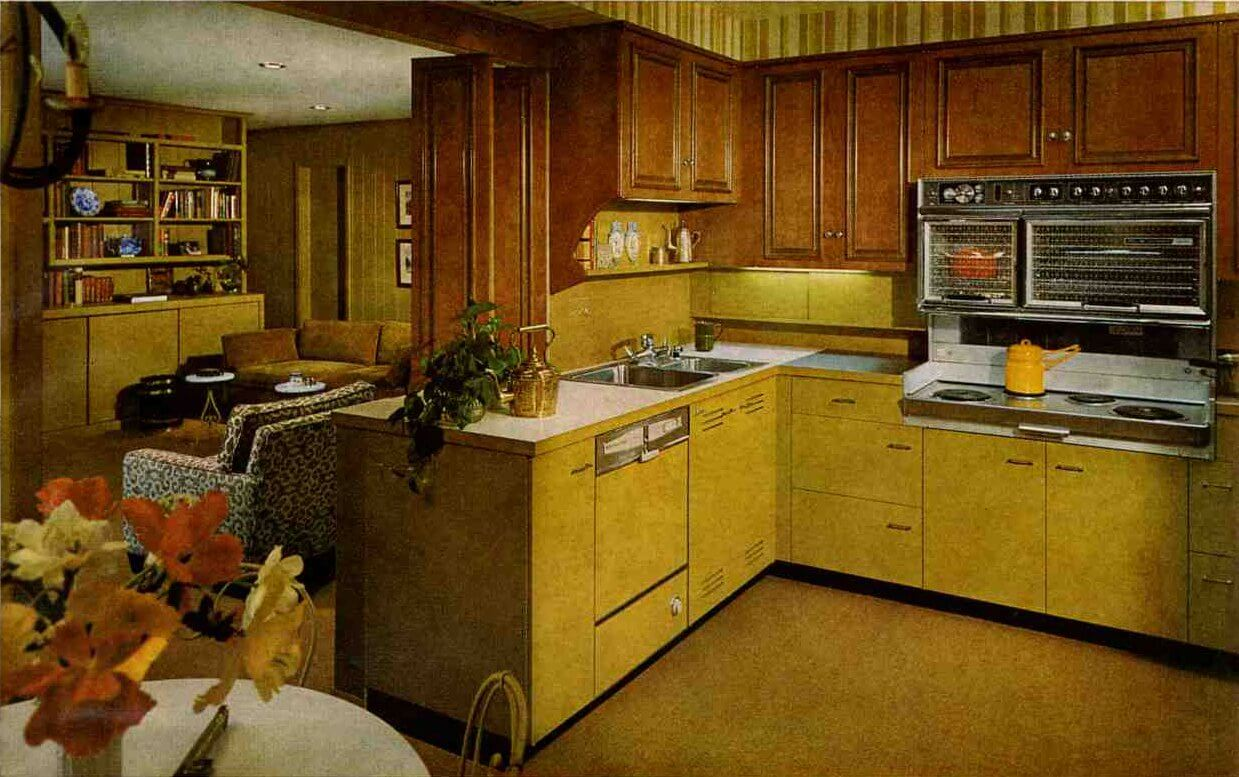 Vintage 1966 kitchen st charles mixes wood and metal for 60s kitchen ideas